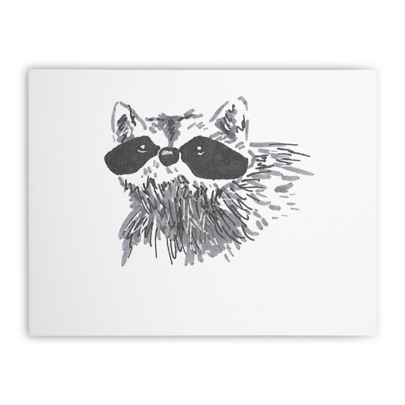 Cute Raccoon Hand-drawn Home Stretched Canvas by The Wilderness Store