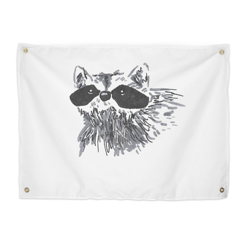 Cute Raccoon Hand-drawn Home Tapestry by The Wilderness Store