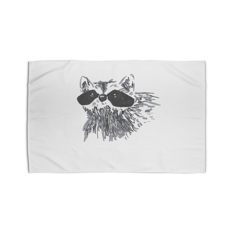 Cute Raccoon Hand-drawn Home Rug by The Wilderness Store