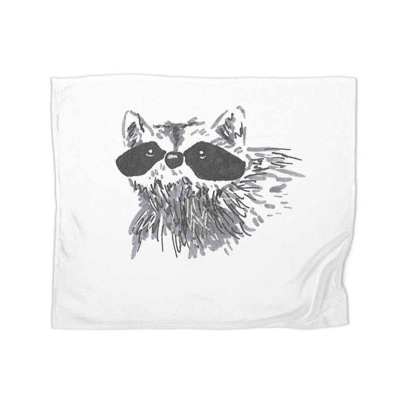 Cute Raccoon Hand-drawn Home Fleece Blanket Blanket by The Wilderness Store