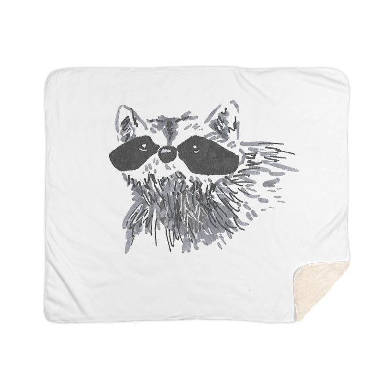 Cute Raccoon Hand-drawn Home Sherpa Blanket Blanket by The Wilderness Store
