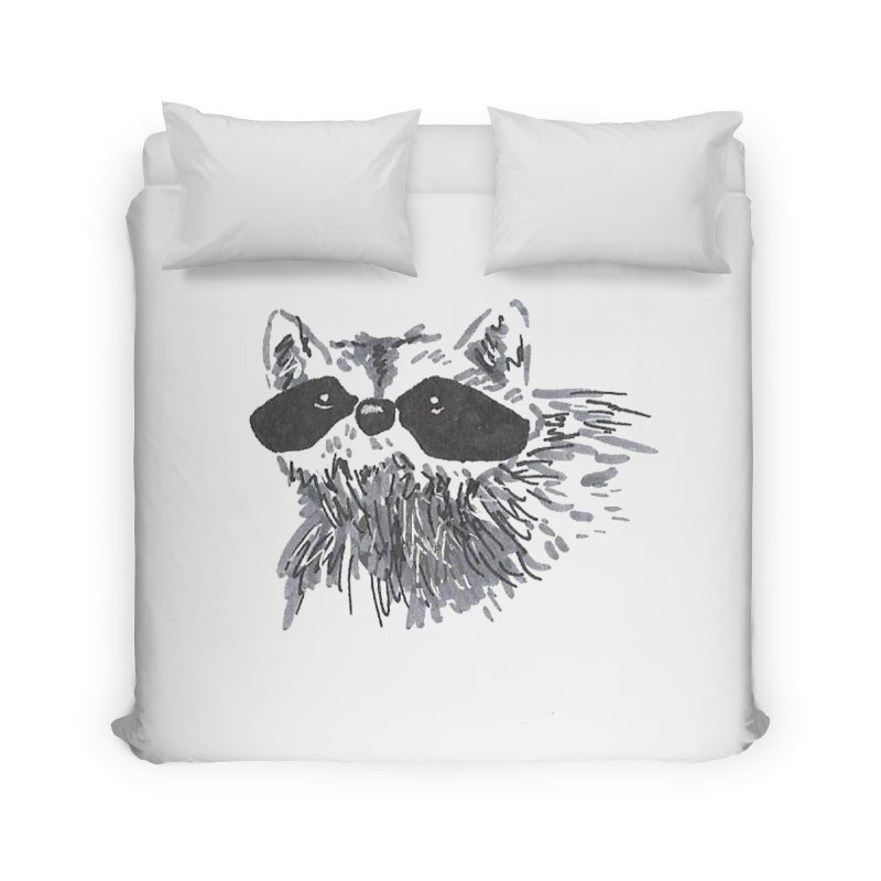 Cute Raccoon Hand-drawn Home Duvet by The Wilderness Store