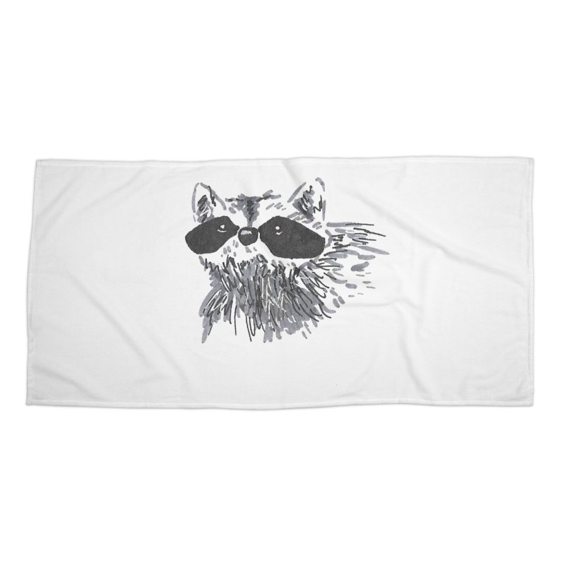 Cute Raccoon Hand-drawn Accessories Beach Towel by The Wilderness Store