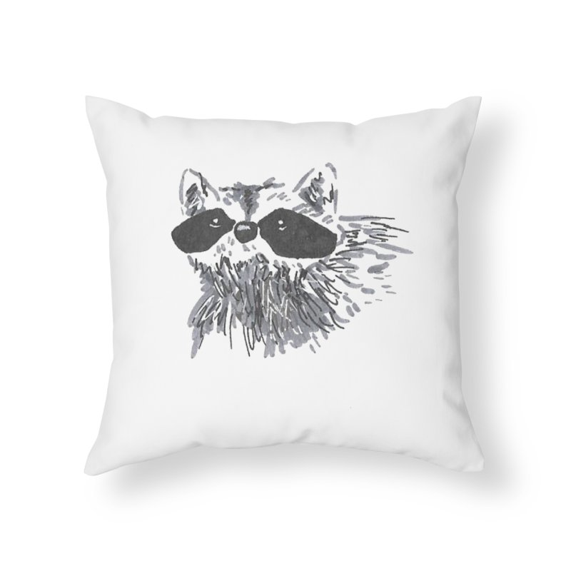 Cute Raccoon Hand-drawn Home Throw Pillow by The Wilderness Store