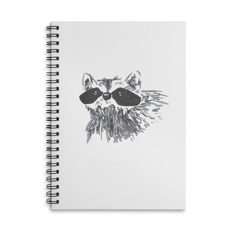 Cute Raccoon Hand-drawn Accessories Lined Spiral Notebook by The Wilderness Store