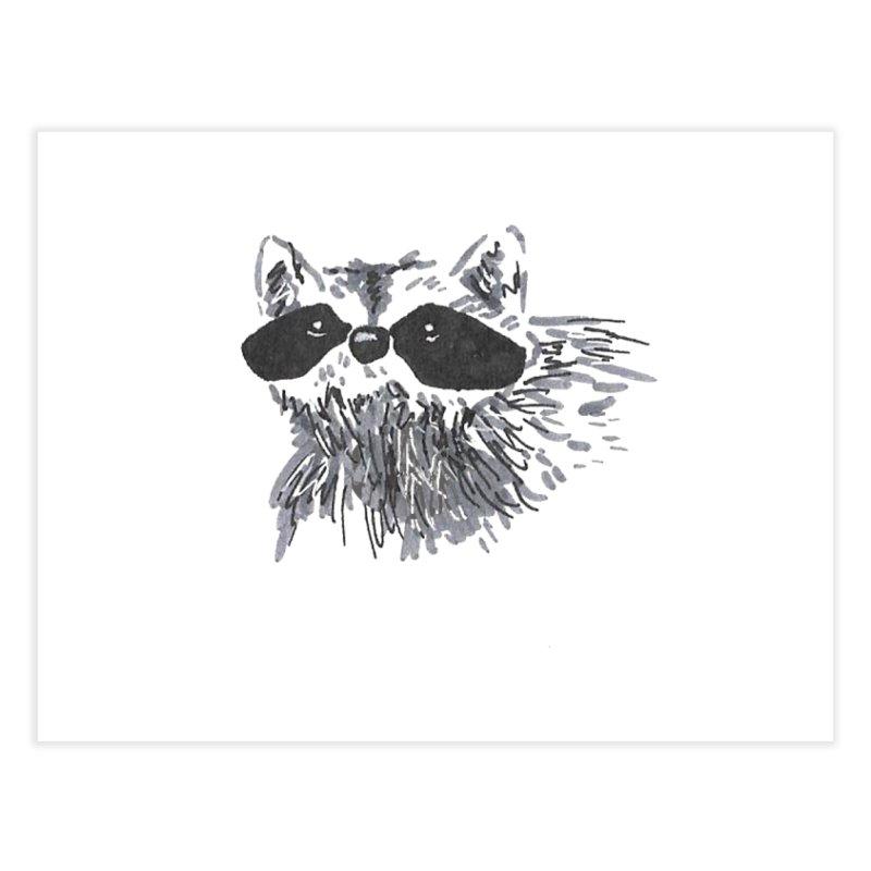 Cute Raccoon Hand-drawn Home Fine Art Print by The Wilderness Store
