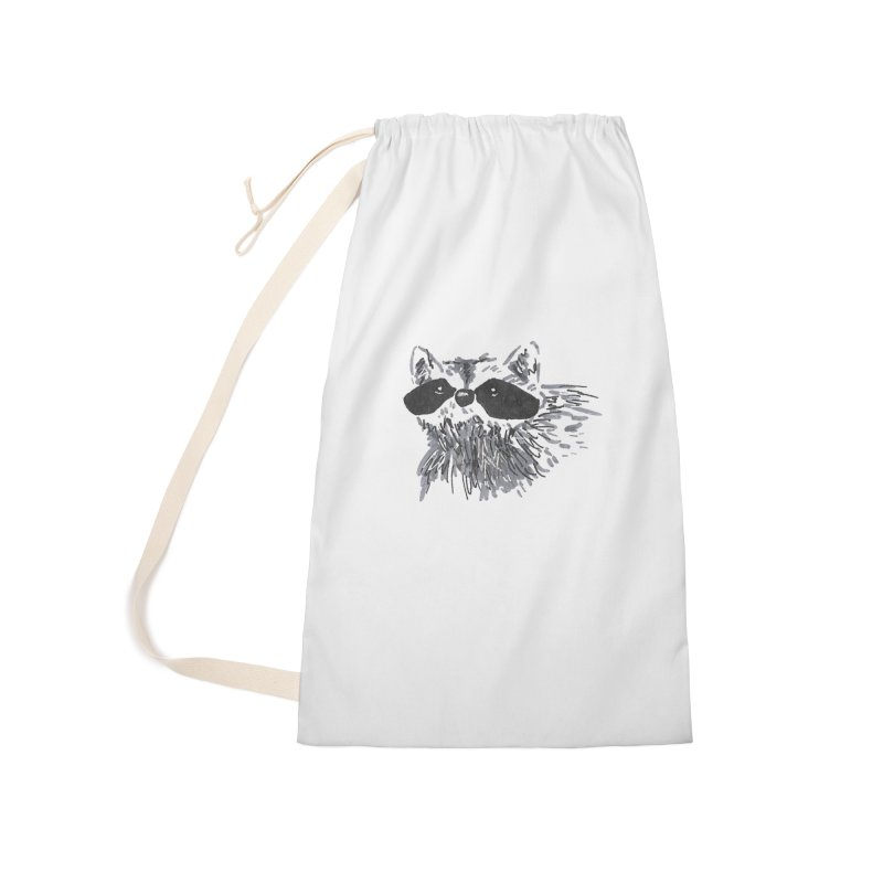 Cute Raccoon Hand-drawn Accessories Laundry Bag Bag by The Wilderness Store
