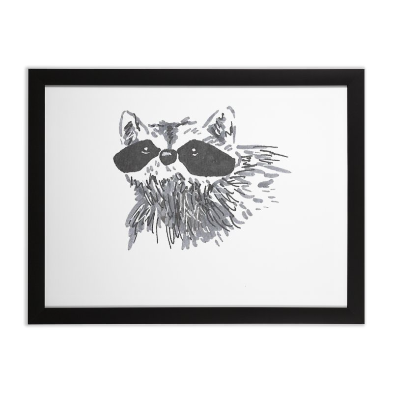 Cute Raccoon Hand-drawn Home Framed Fine Art Print by The Wilderness Store