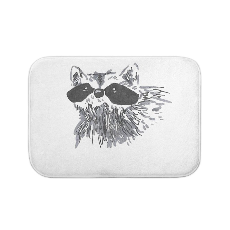 Cute Raccoon Hand-drawn Home Bath Mat by The Wilderness Store