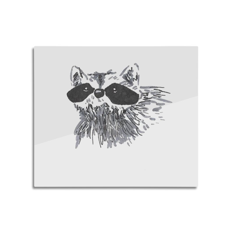 Cute Raccoon Hand-drawn Home Mounted Aluminum Print by The Wilderness Store