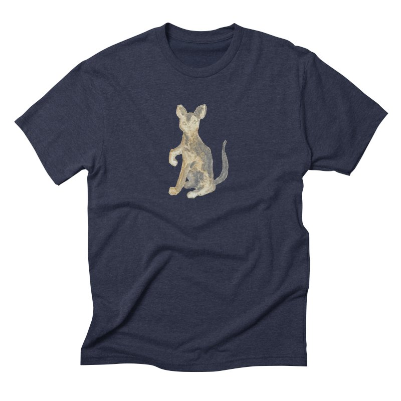 Cat Orange Gray Watercolor Pencils Men's Triblend T-Shirt by The Wilderness Store