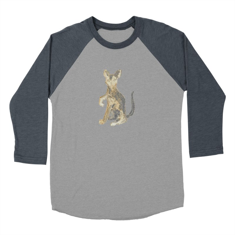Cat Orange Gray Watercolor Pencils Men's Baseball Triblend Longsleeve T-Shirt by The Wilderness Store