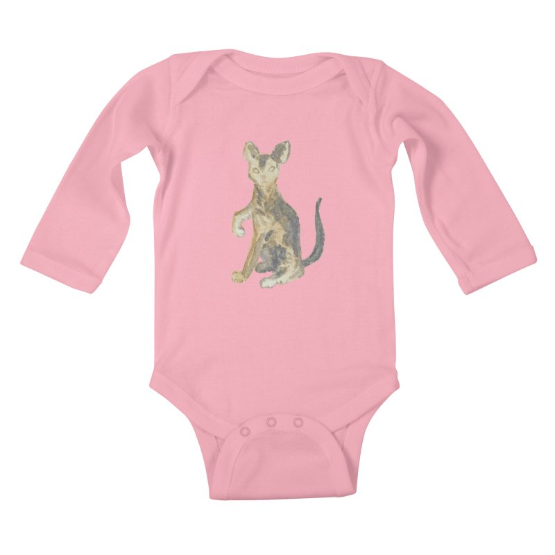 Cat Orange Gray Watercolor Pencils Kids Baby Longsleeve Bodysuit by The Wilderness Store