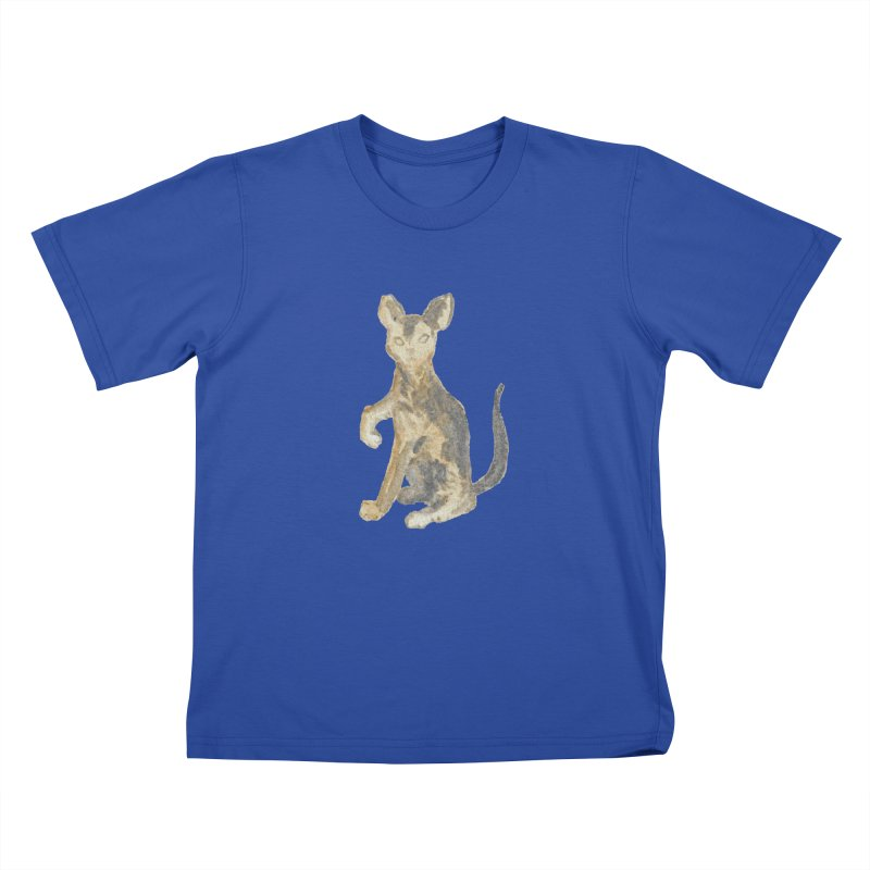 Cat Orange Gray Watercolor Pencils Kids T-Shirt by The Wilderness Store
