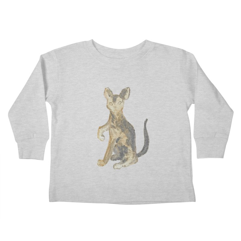 Cat Orange Gray Watercolor Pencils Kids Toddler Longsleeve T-Shirt by The Wilderness Store