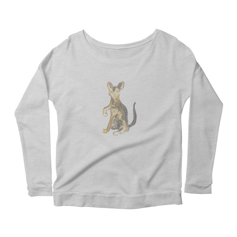 Cat Orange Gray Watercolor Pencils Women's Scoop Neck Longsleeve T-Shirt by The Wilderness Store