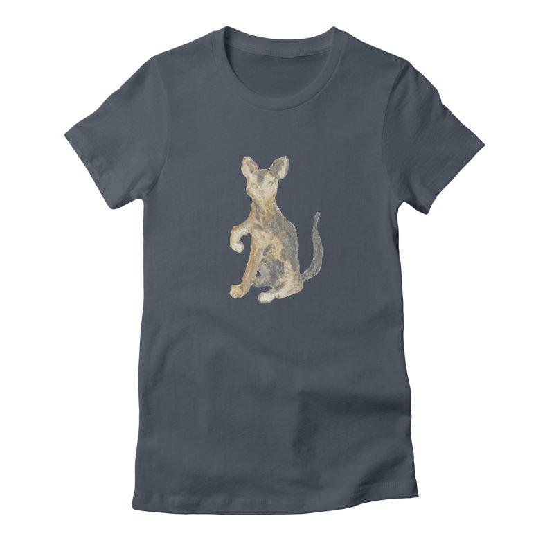 Cat Orange Gray Watercolor Pencils Women's T-Shirt by The Wilderness Store
