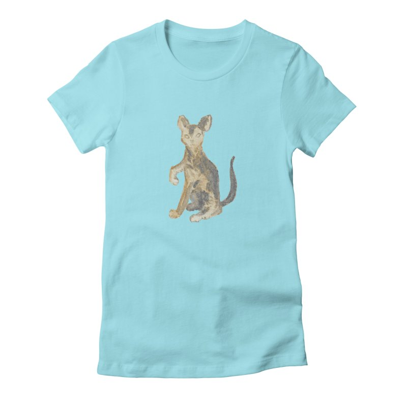 Cat Orange Gray Watercolor Pencils Women's Fitted T-Shirt by The Wilderness Store