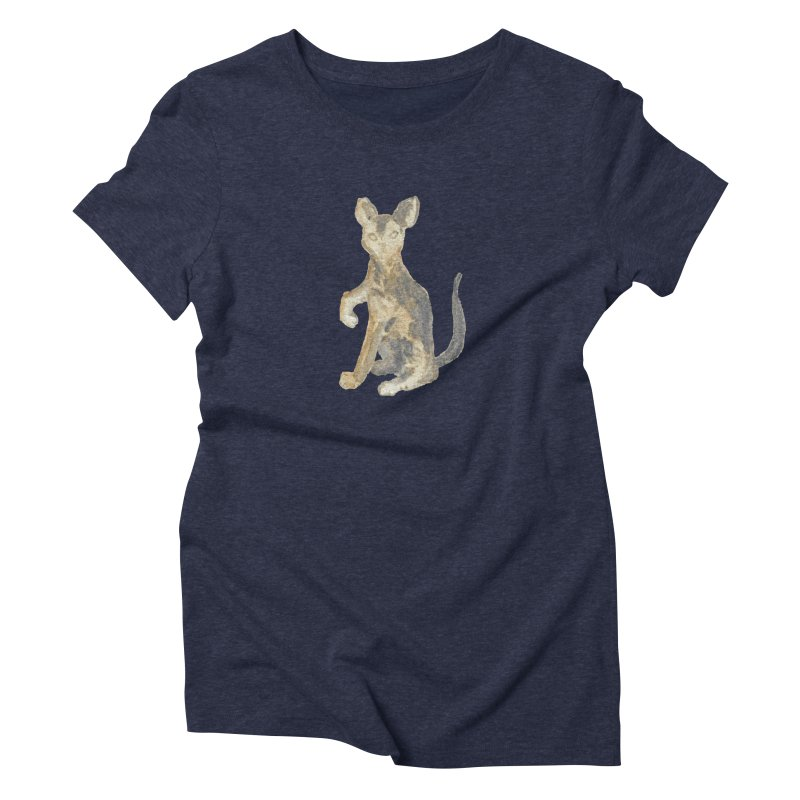Cat Orange Gray Watercolor Pencils Women's Triblend T-Shirt by The Wilderness Store