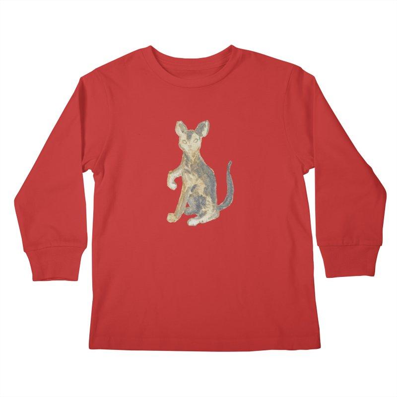 Cat Orange Gray Watercolor Pencils Kids Longsleeve T-Shirt by The Wilderness Store