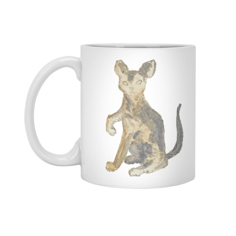Cat Orange Gray Watercolor Pencils Accessories Standard Mug by The Wilderness Store