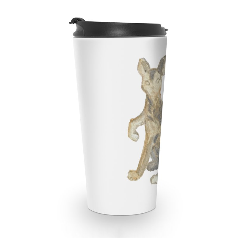 Cat Orange Gray Watercolor Pencils Accessories Travel Mug by The Wilderness Store