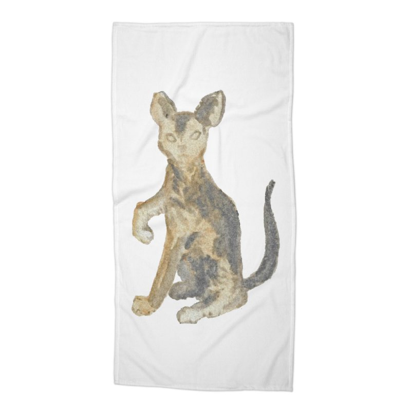 Cat Orange Gray Watercolor Pencils Accessories Beach Towel by The Wilderness Store