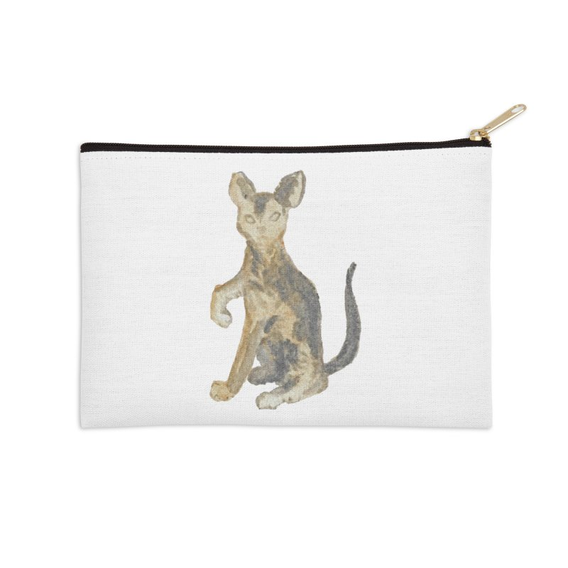 Cat Orange Gray Watercolor Pencils Accessories Zip Pouch by The Wilderness Store