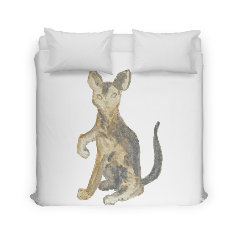 Cat Orange Gray Watercolor Pencils Home Duvet by The Wilderness Store