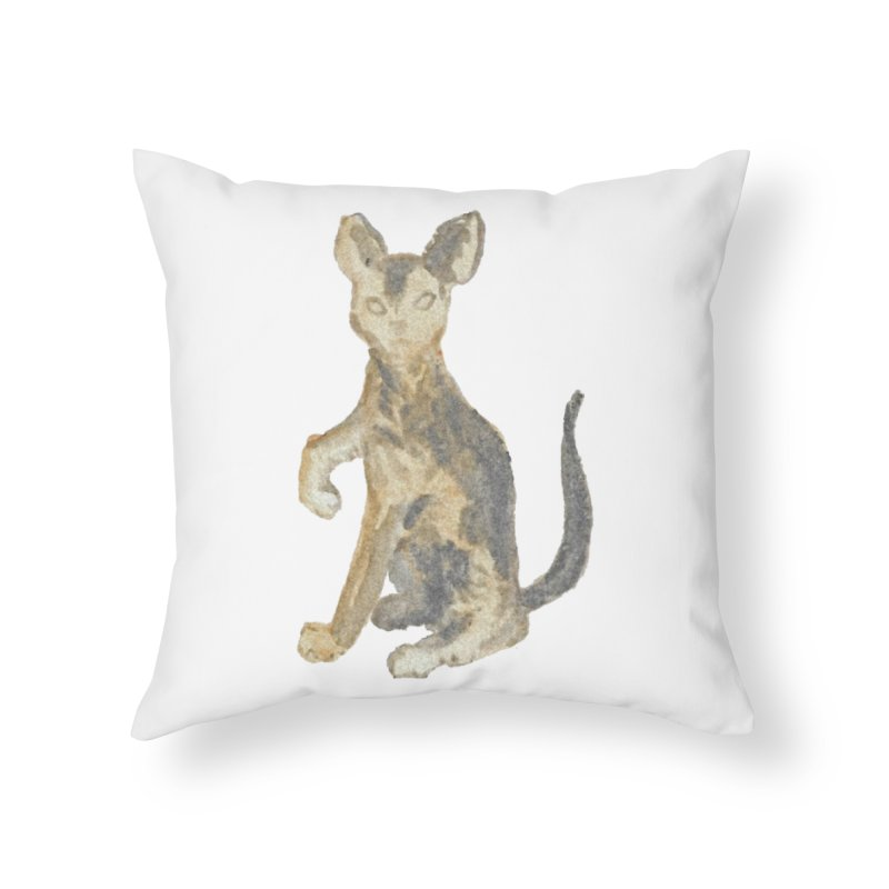 Cat Orange Gray Watercolor Pencils Home Throw Pillow by The Wilderness Store