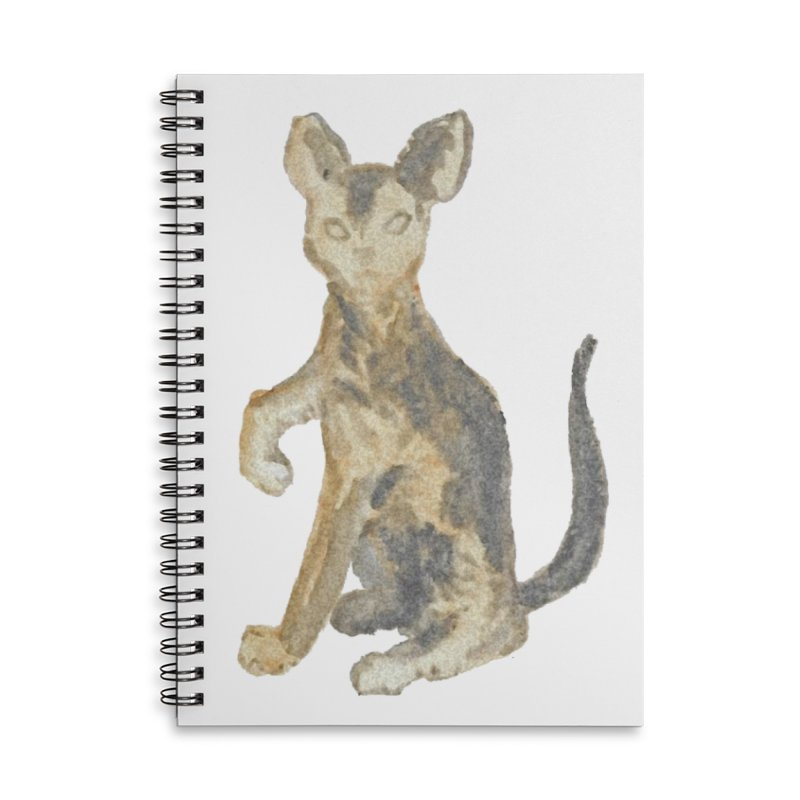 Cat Orange Gray Watercolor Pencils Accessories Lined Spiral Notebook by The Wilderness Store