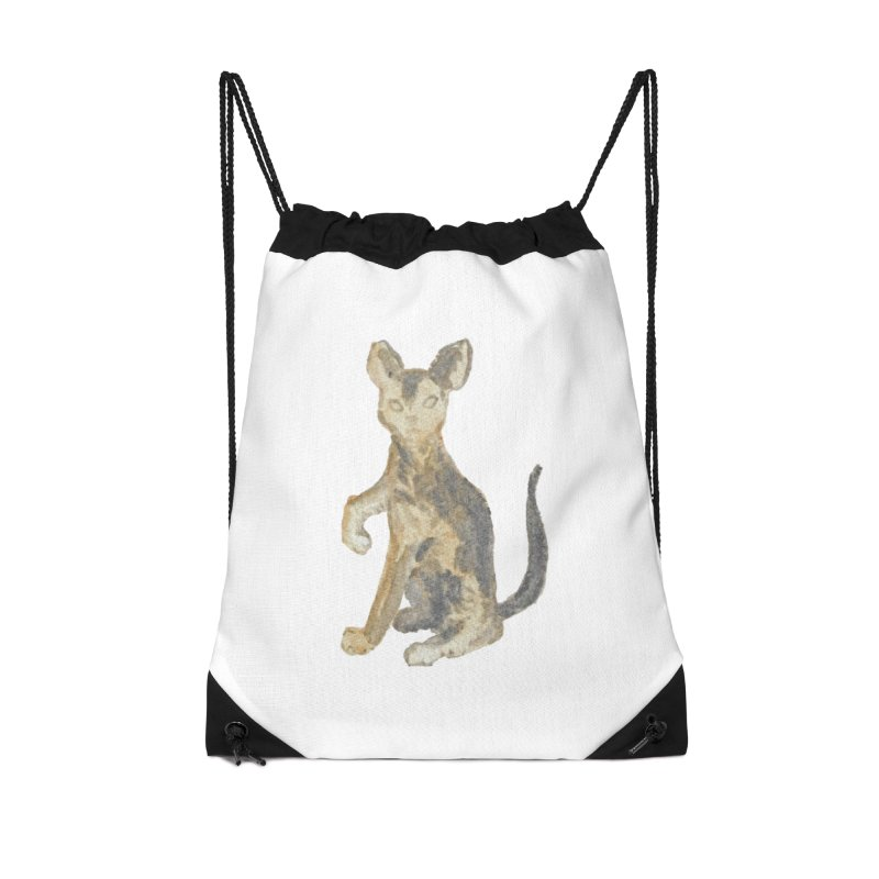 Cat Orange Gray Watercolor Pencils Accessories Drawstring Bag Bag by The Wilderness Store