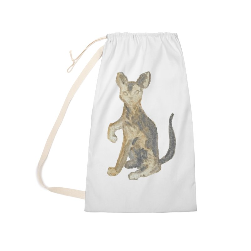 Cat Orange Gray Watercolor Pencils Accessories Laundry Bag Bag by The Wilderness Store