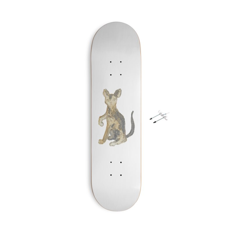 Cat Orange Gray Watercolor Pencils Accessories With Hanging Hardware Skateboard by The Wilderness Store