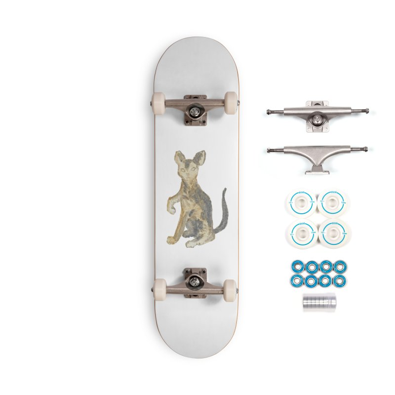 Cat Orange Gray Watercolor Pencils Accessories Complete - Basic Skateboard by The Wilderness Store