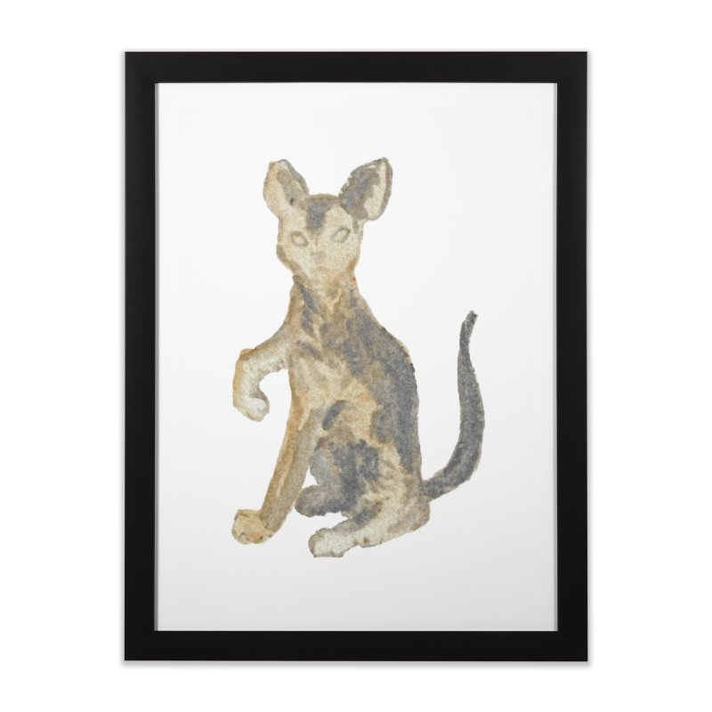 Cat Orange Gray Watercolor Pencils Home Framed Fine Art Print by The Wilderness Store