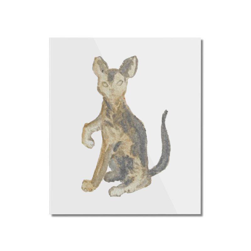 Cat Orange Gray Watercolor Pencils Home Mounted Acrylic Print by The Wilderness Store