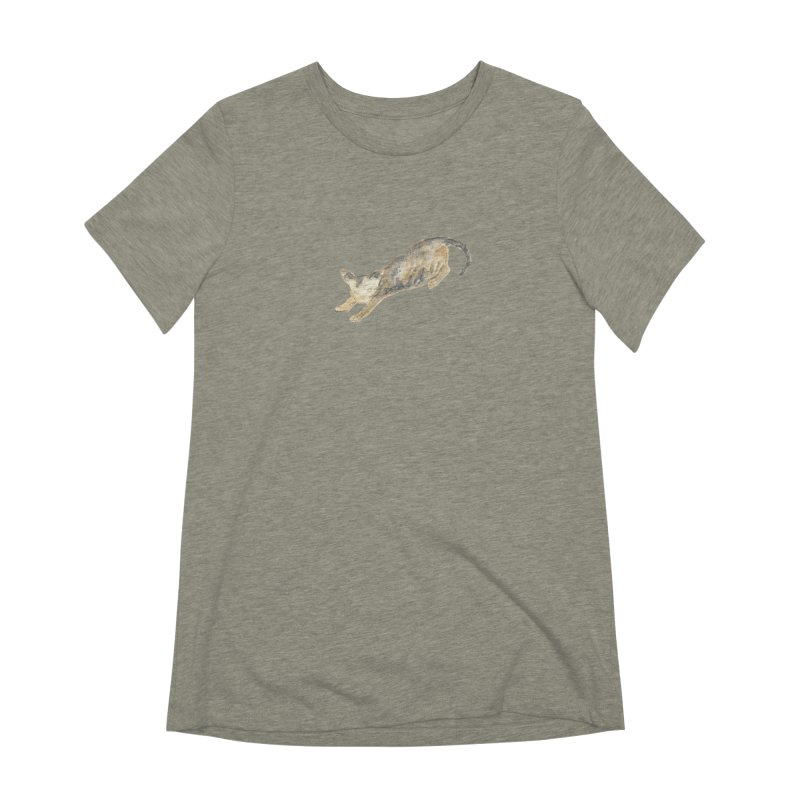 Cat Stretching Orange Grey Sphynx Watercolor Women's Extra Soft T-Shirt by The Wilderness Store