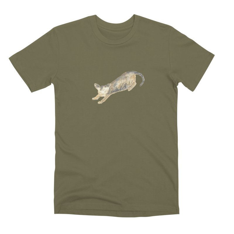 Cat Stretching Orange Grey Sphynx Watercolor Men's Premium T-Shirt by The Wilderness Store
