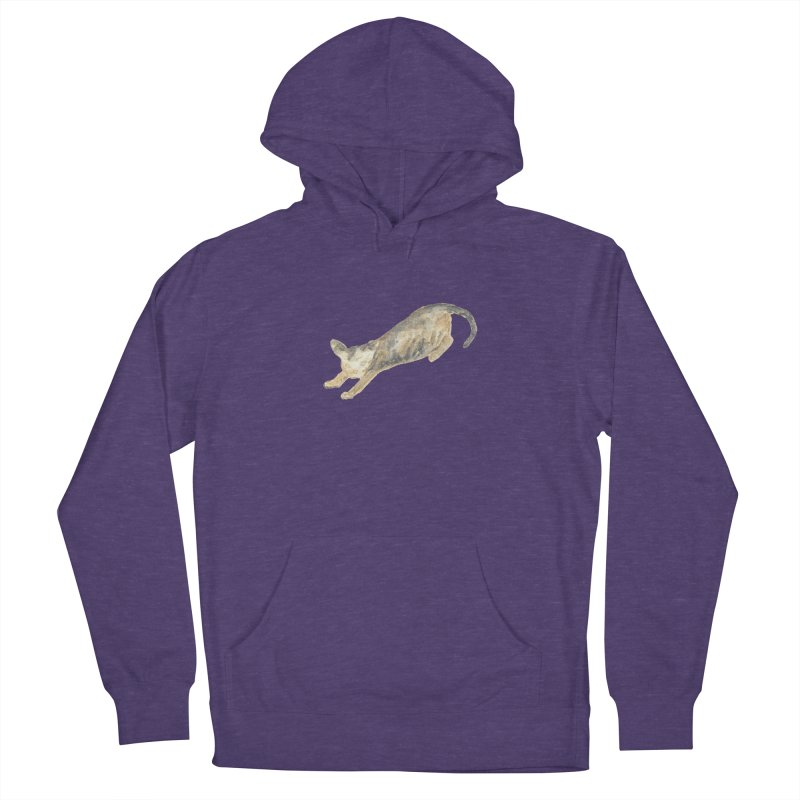 Cat Stretching Orange Grey Sphynx Watercolor Women's French Terry Pullover Hoody by The Wilderness Store