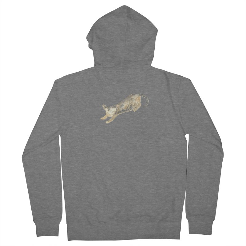 Cat Stretching Orange Grey Sphynx Watercolor Men's French Terry Zip-Up Hoody by The Wilderness Store