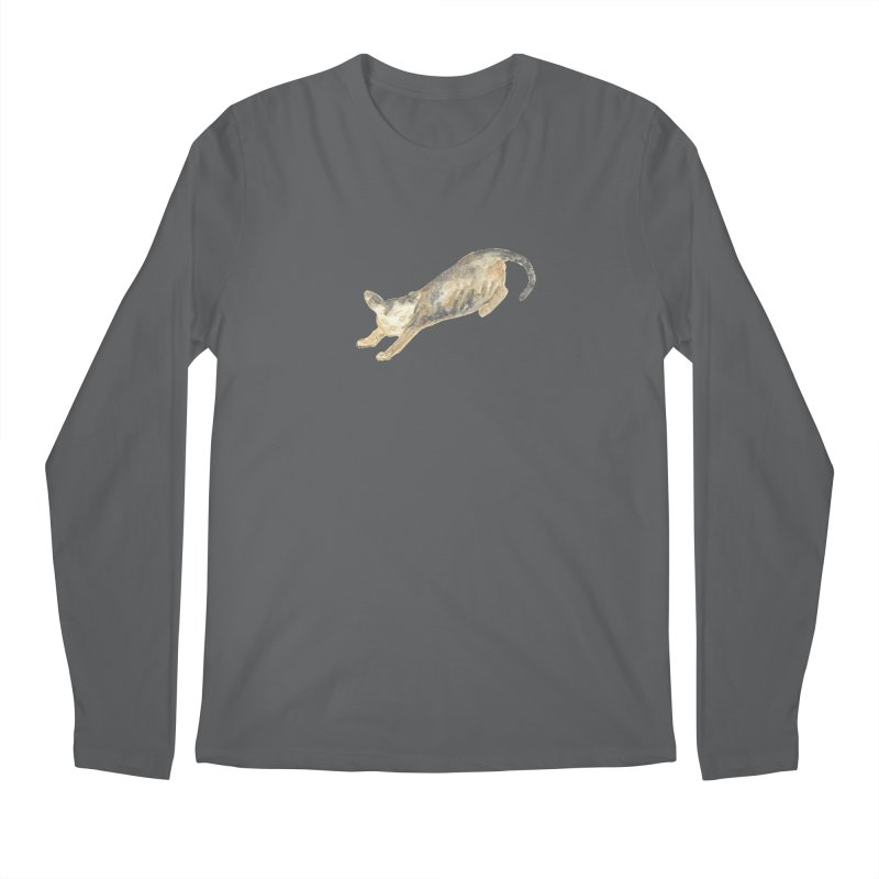 Cat Stretching Orange Grey Sphynx Watercolor Men's Longsleeve T-Shirt by The Wilderness Store