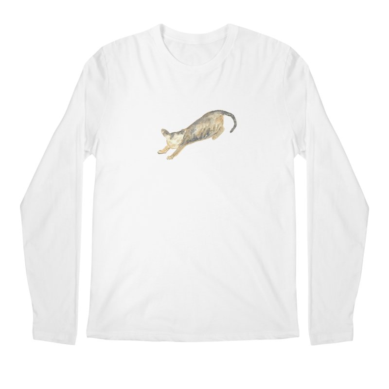 Cat Stretching Orange Grey Sphynx Watercolor Men's Regular Longsleeve T-Shirt by The Wilderness Store