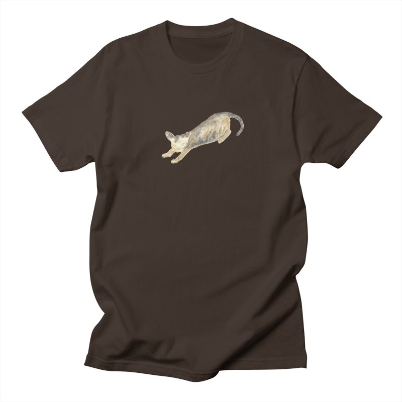 Cat Stretching Orange Grey Sphynx Watercolor Men's T-Shirt by The Wilderness Store