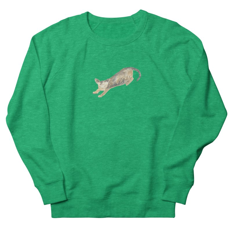 Cat Stretching Orange Grey Sphynx Watercolor Women's Sweatshirt by The Wilderness Store