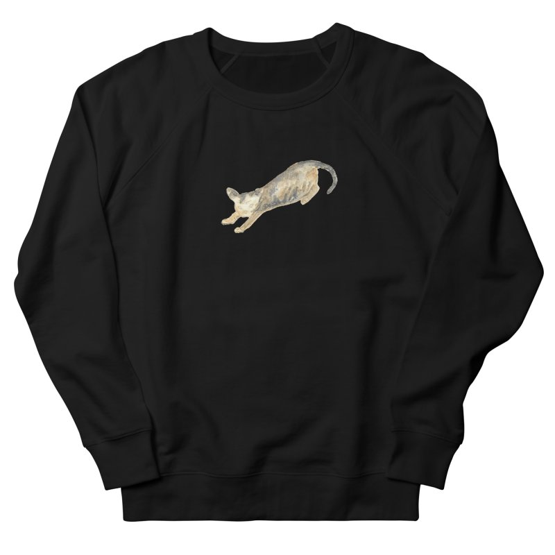 Cat Stretching Orange Grey Sphynx Watercolor Men's French Terry Sweatshirt by The Wilderness Store