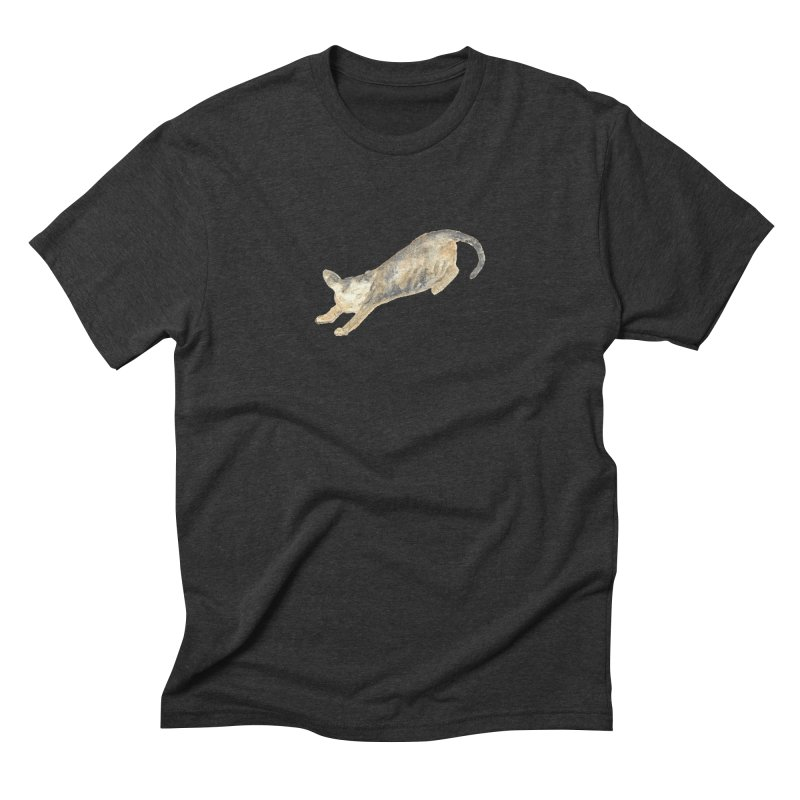 Cat Stretching Orange Grey Sphynx Watercolor Men's Triblend T-Shirt by The Wilderness Store