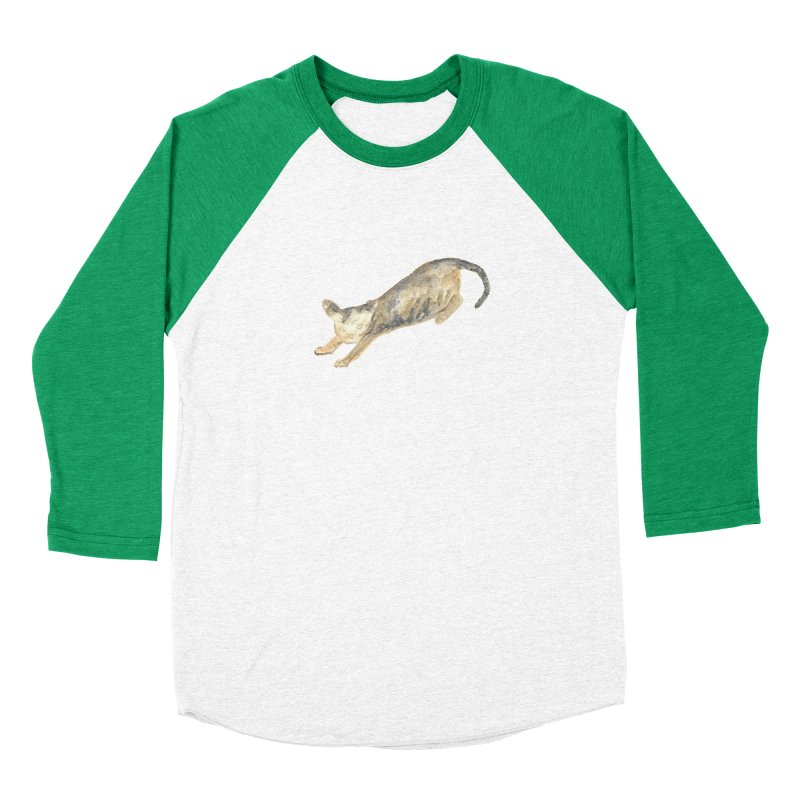 Cat Stretching Orange Grey Sphynx Watercolor Men's Baseball Triblend Longsleeve T-Shirt by The Wilderness Store