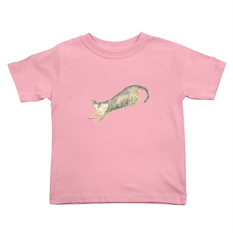 Cat Stretching Orange Grey Sphynx Watercolor Kids Toddler T-Shirt by The Wilderness Store