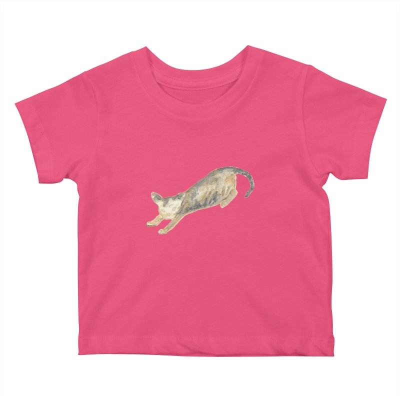 Cat Stretching Orange Grey Sphynx Watercolor Kids Baby T-Shirt by The Wilderness Store